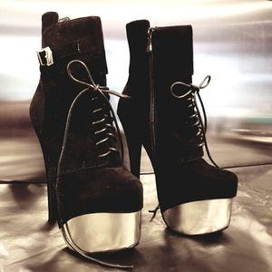 Platform Stilettos Black Velvety & Gold